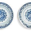 Two blue and white 'floral' dishes, ming dynasty, tianqi period (1621-1627)