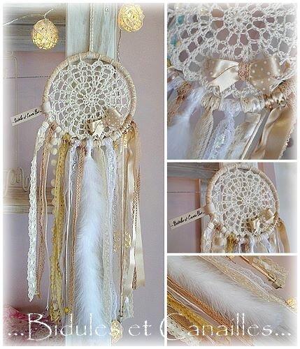 Attrape rêve coton crocheté et rubans