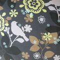 oiseaux fleurs gris
