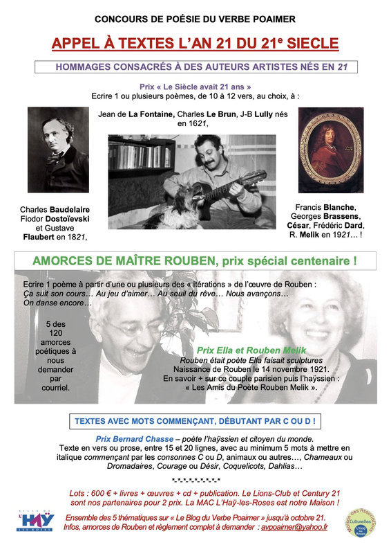 Concours d'écriture 2021 du Verbe Poaimer et 120 amorces poétiques de Rouben Melik - fête de son Centenaire