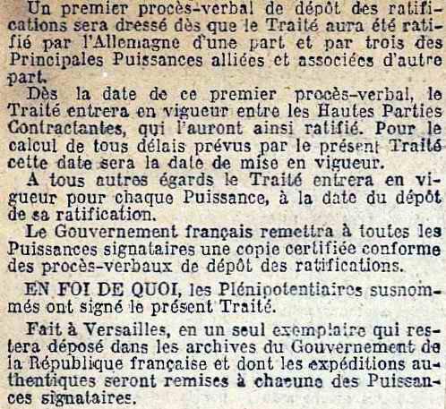 signature traité de Versailles