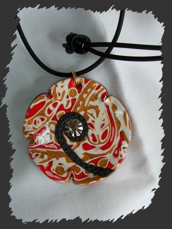 pendentif effet cuir mokumé
