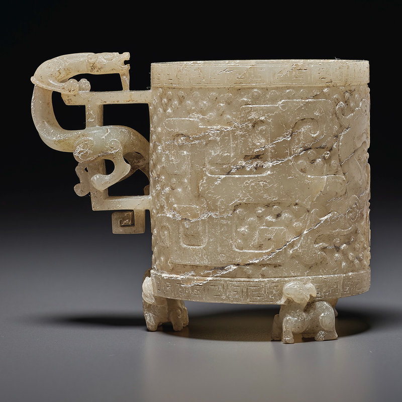 A mottled white and pale beige jade cup, zhi, Late Ming-early Qing dynasty