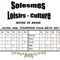 Section bridge : calendrier des tournois (saison 2010-2011)