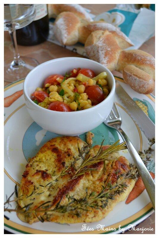 Escalope de poulet à la plancha et salade de pois chiches