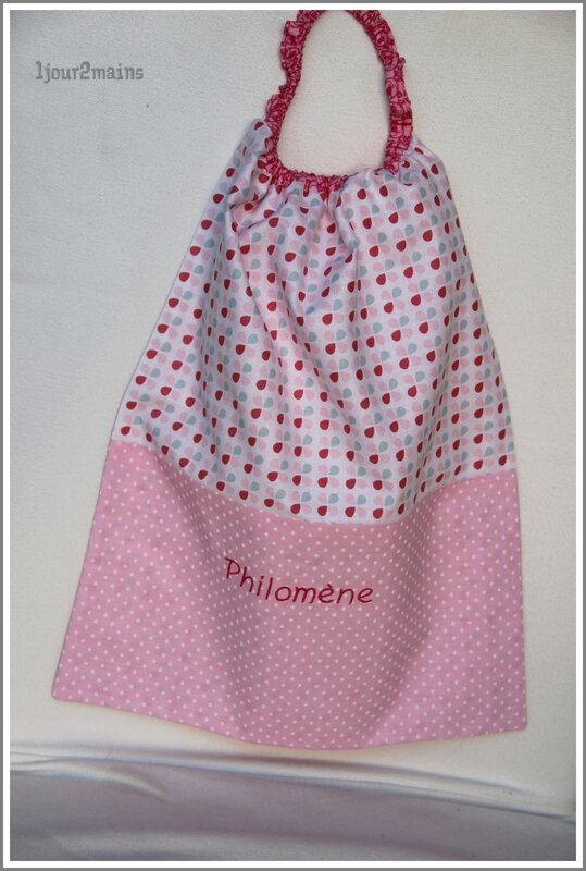 serviette philomene pois rose