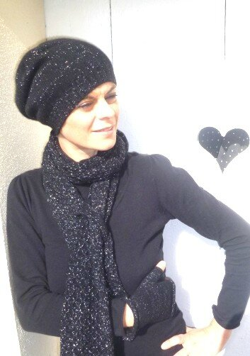 ensemble bonnet écharpe mitaine cachemire brillant femme