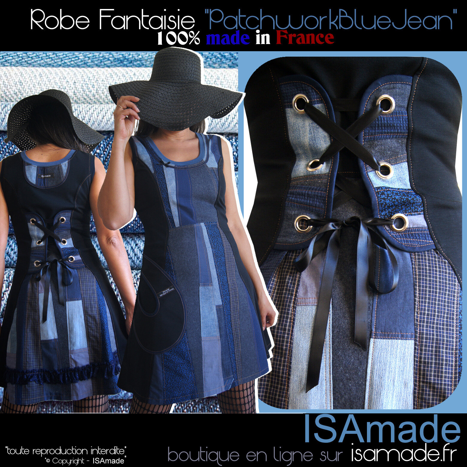 Robe patchwork jean bleu createur made in france
