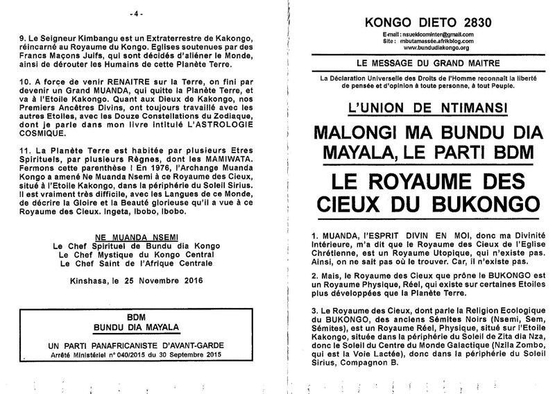 LE ROYAUME DES CIEUX DU BUKONGO a
