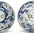 Two blue and white bowls, qing dynasty, kangxi period (1662-1722)