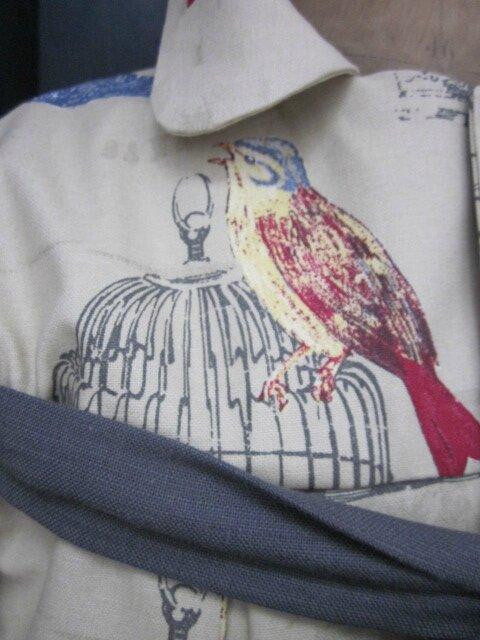 Manteau AGLAE en toile de coton beige imprimé oiseaux et cage - noued de lin gris (8)