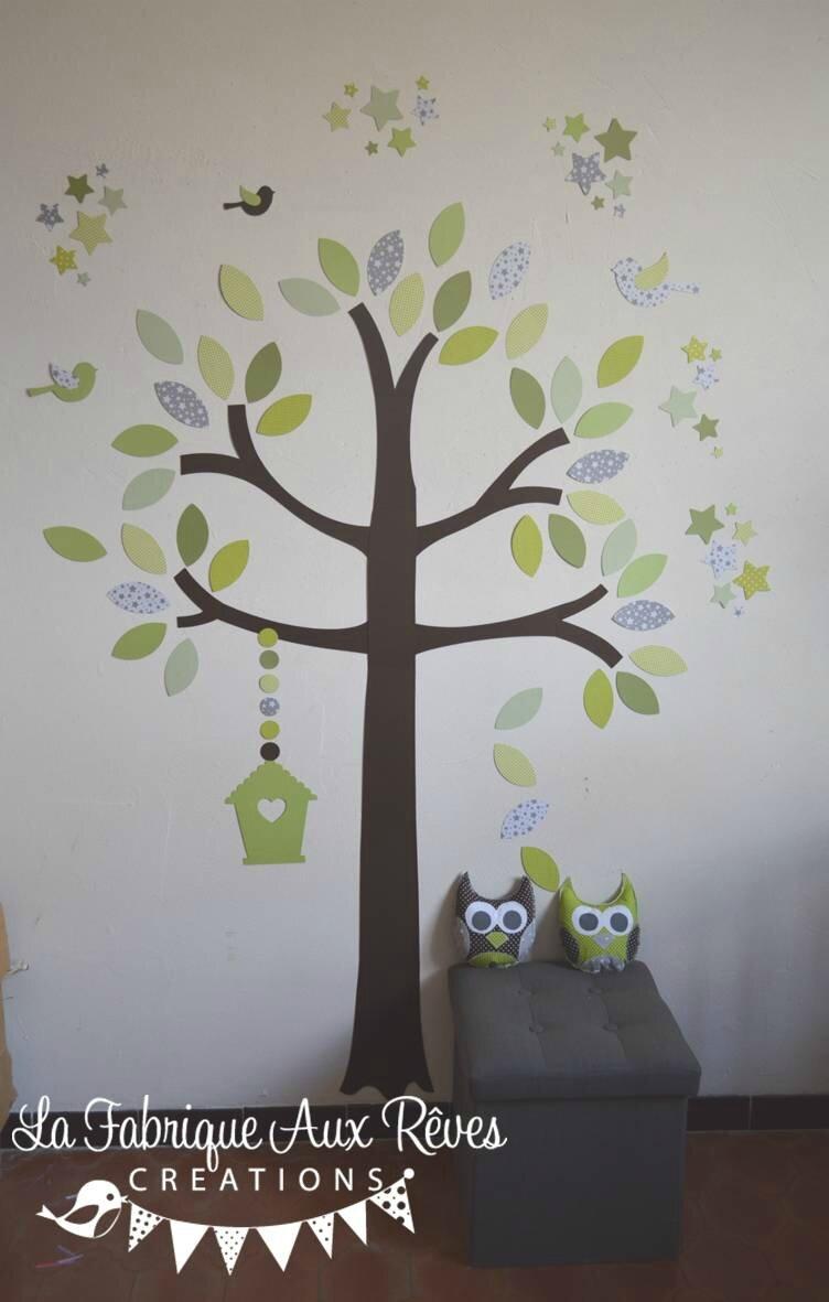 stickers arbre vert anis amande kaki chocolat marron gris nichoir ...