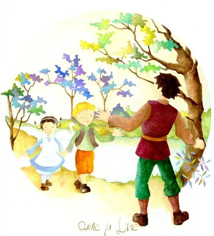 12_conte_de_Grimm_Dame_la_Lune_Hansel _&_Grethel_Illustration