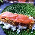 Bento 135: maki de chou vert au saumon fumé