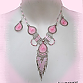 Parure ethnique collier b.o fil tissé perles rocaille rose argent d'alpaca pérou
