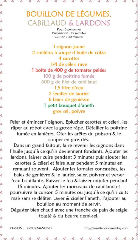 Bouillon de légumes, cabillaud & lardons_fiche