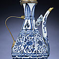 a_very_rare_gilt-metal-mounted_blue_and_white_octagonal_ewer_yuan_dynasty