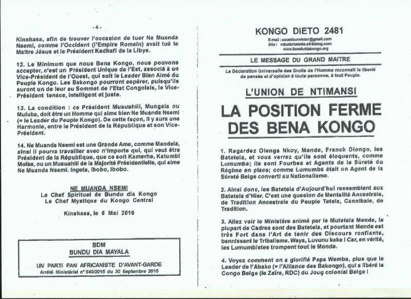 LA POSITION FERME DES BENA KONGO a