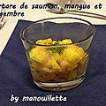 Tartare de saumon, mangue et gingembre