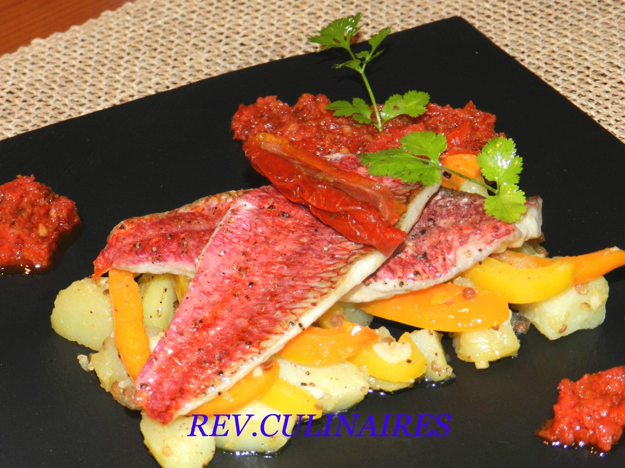 Rougets rôtis et pommes de terre tièdes à la coriandre