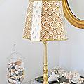 Pied de lampe en bois doré pour perle de lumières !