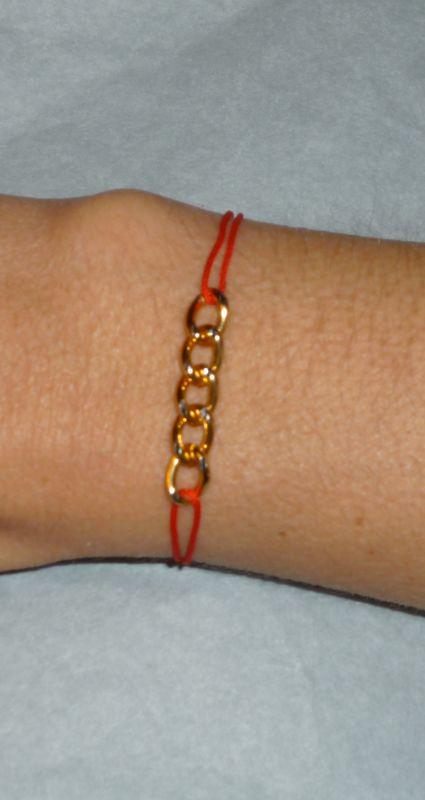 bracelet 'chaîne et lien' rouge