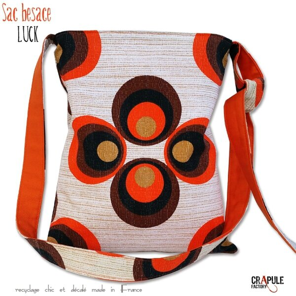 Sac besace cabas tissus vintage d'origine motifs psyché marron orange artisanal made in France CrApule FActOry