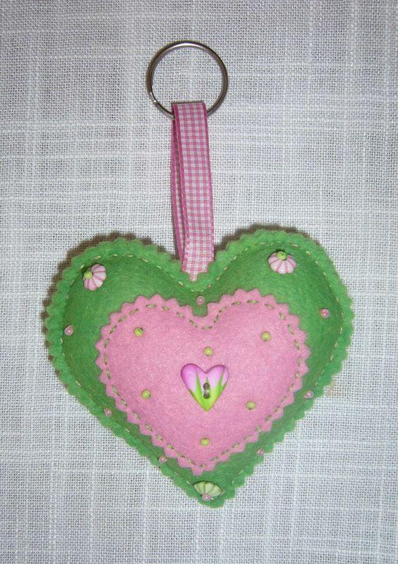 Gros coeur vert & rose