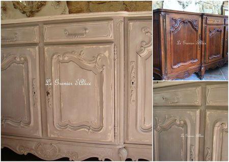 Avant après relooking buffet provencal enfilade patiné decoration de charme shabby le grenier d'alice