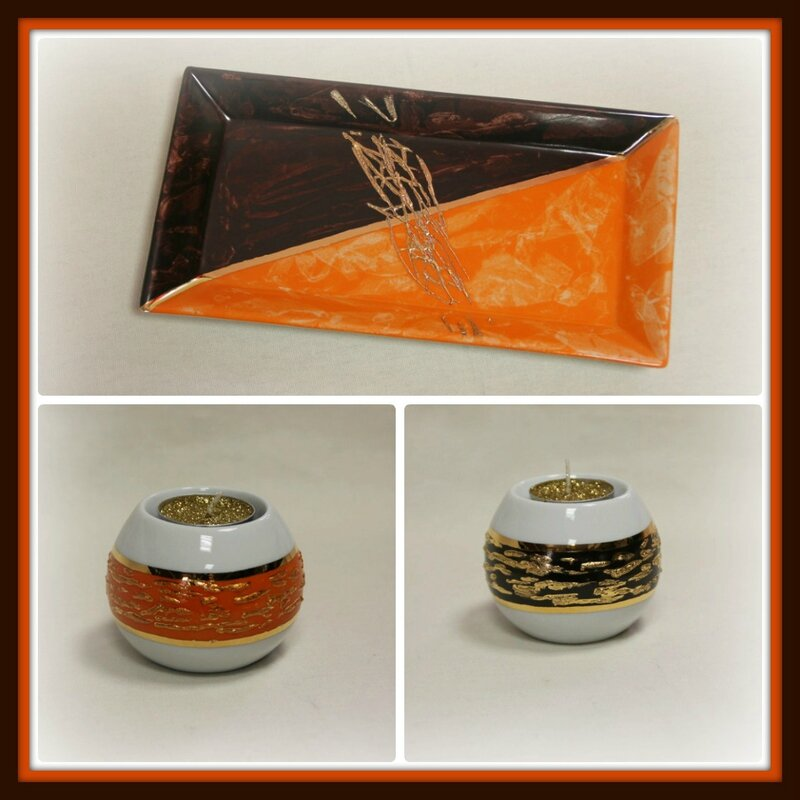 Ensemble bougeoirs marron et orange