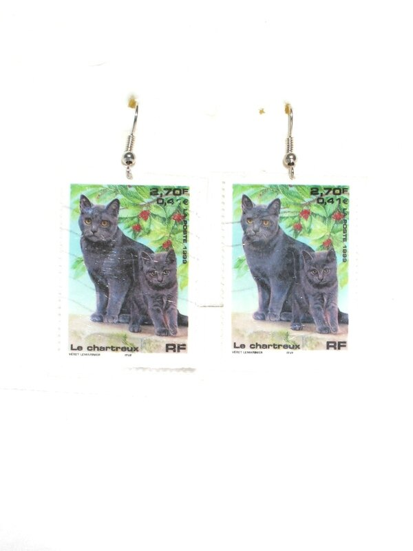 bijoux timbre france chat chartreux 2,70f