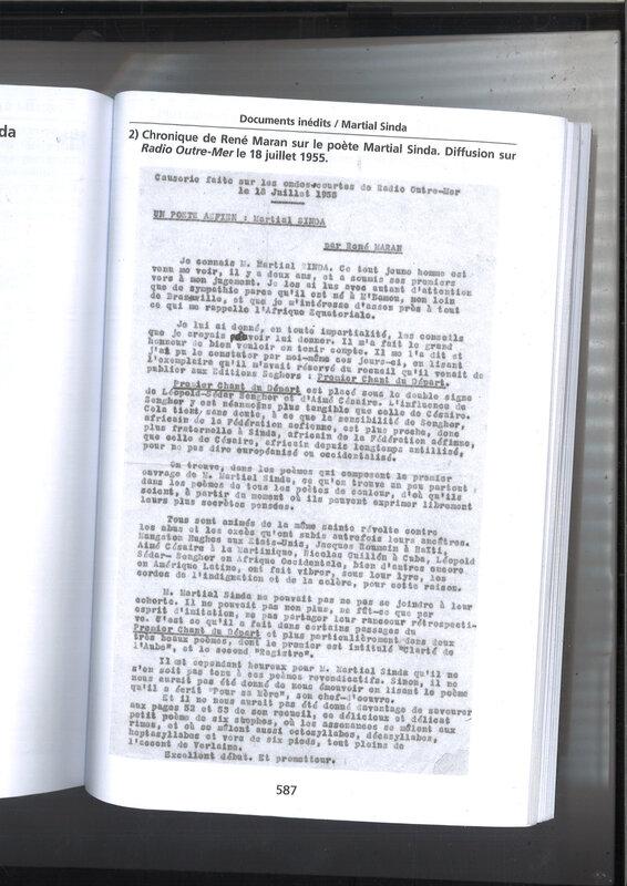 René Maran Chronique Premier chant du départ de Martial Sinda en 1955 sur Radio Outre-Mer