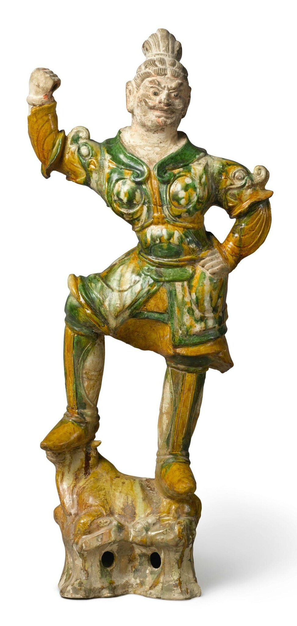 A sancai-glazed pottery figure of a guardian (lokapala), Tang dynasty (618-907)