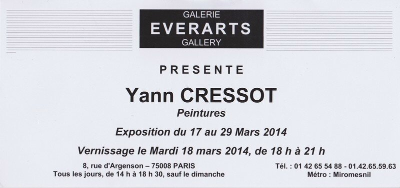 Invitation Yann Cressot Galerie 8ème