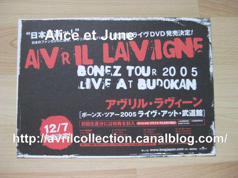 Fiche Promotionnelle japonaise -DVD Bonez Tour 2005 Live Budokan