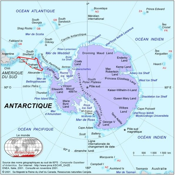 Antarctique itinéraire