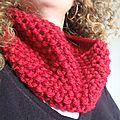 Snood rouge au point de riz