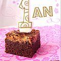 Brownie au chocolat & beurre de cacahuète pour les 1 an du blog