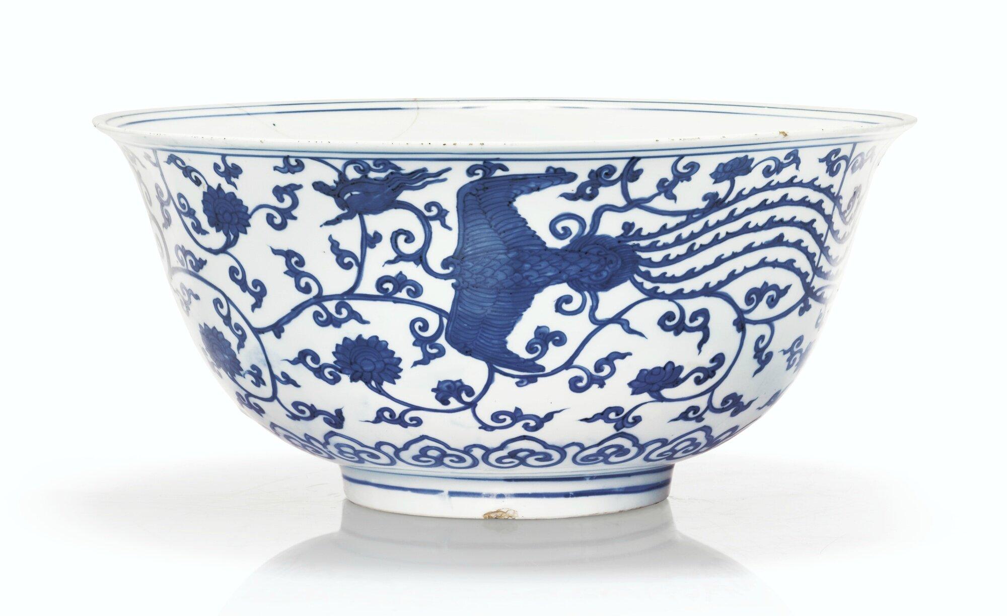 Grand bol en porcelaine bleu blanc Marque et époque Jiajing