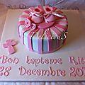 Gâteau de baptême rose