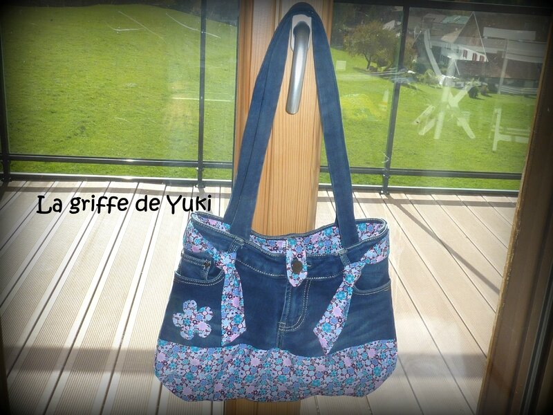 364 - Sac en jean - tissu fleuri rose (5)