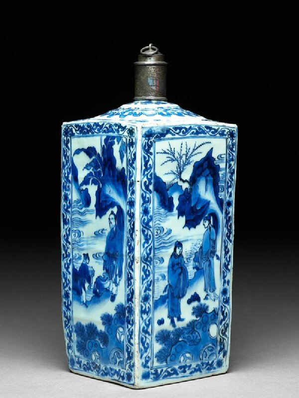Blue-and-white vase with scholars in a landscape, Chongzheng Period, 1620 - 1630