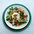 Salade tiède orecchiette/fèves/chorizo et oeuf poché vapeur