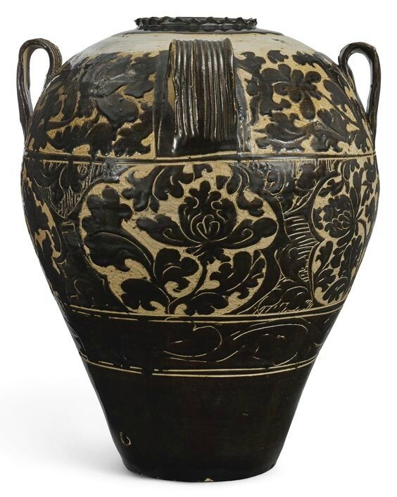 An extremely large and important 'lingwu' cut-glaze wine jar, Xixia dynasty (1038-1227)