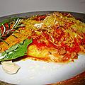 Gratin d'aubergines sauce tomate curcuma, fromage à raclette et gruyère