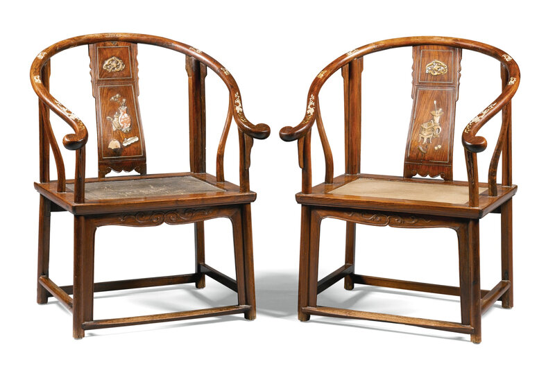 A rare pair of embellished huanghuali horse-shoe back armchairs, 17th-18th century
