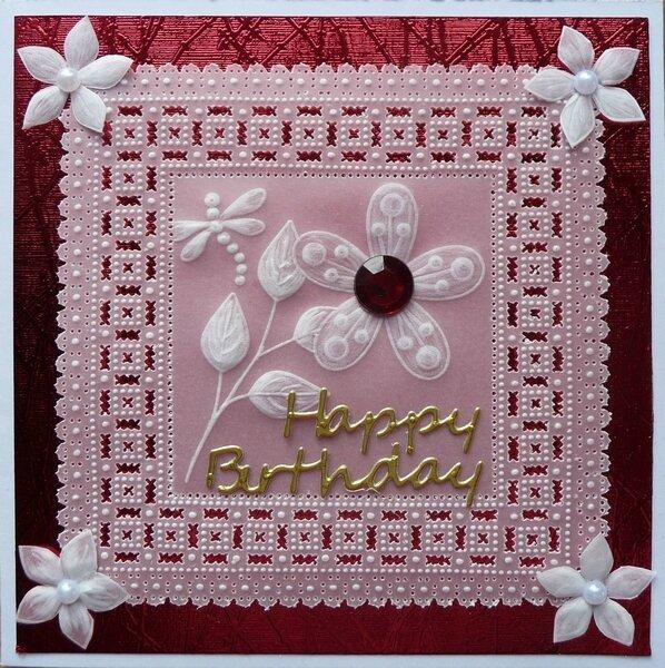 Carte pergamano rouge et blanche fleur