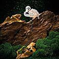Coral, icy jadeite, gem-set and diamond 'flamingo' ornament-brooch