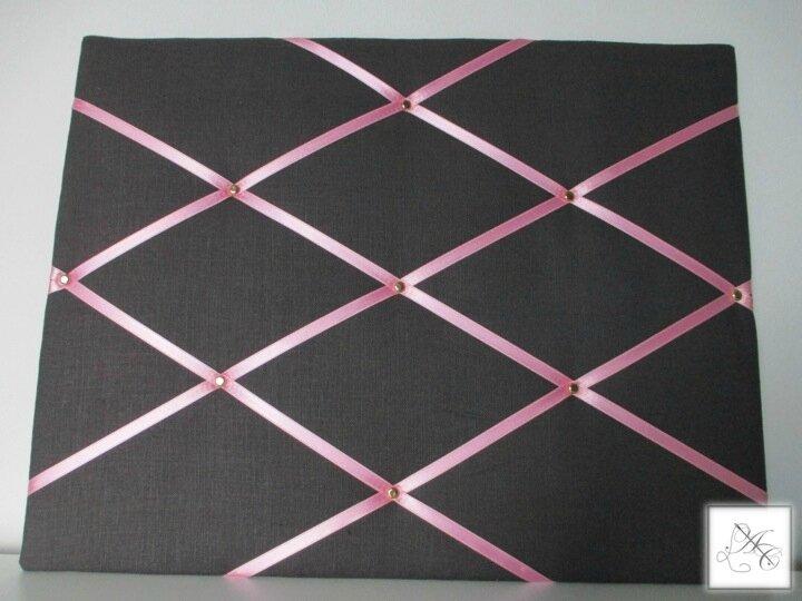 Pêle-mêle anthracite, ruban rose