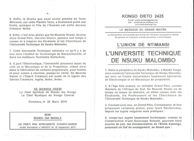 L'UNIVERSITE TECHNIQUE DE NSUKU MALOMBO a